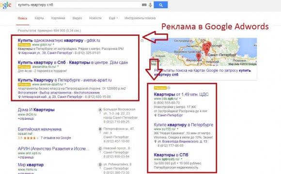 Рекламные объявления в Google